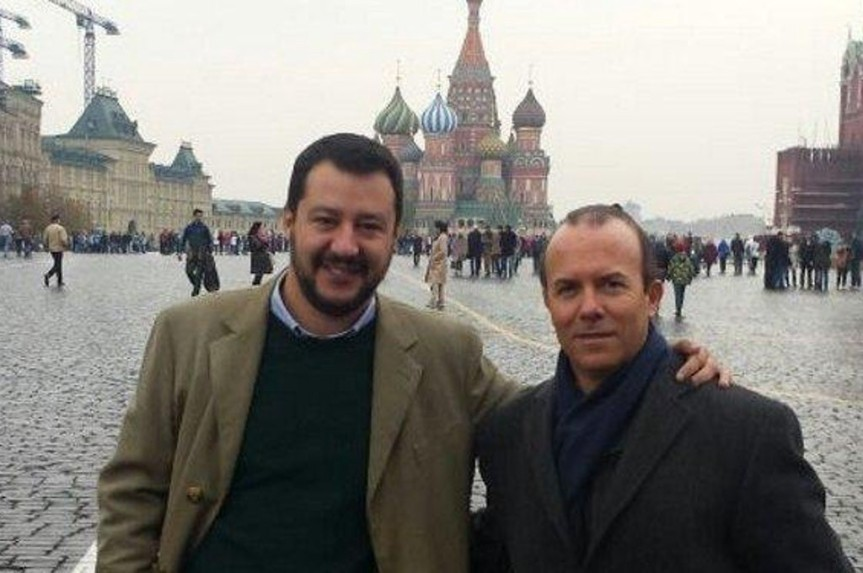 Matteo Salvini and Gianluca Savoini in Moscow