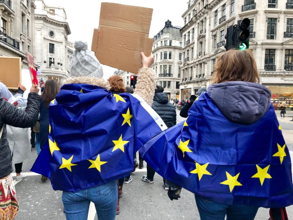 Women protesting in London with Europeans flags