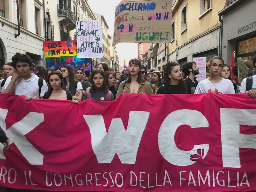 People protesting in Verona, Italy against Family Day